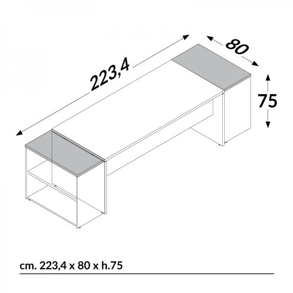 Scrivania Linux 8080 Con Archiviazione Salone Ufficio