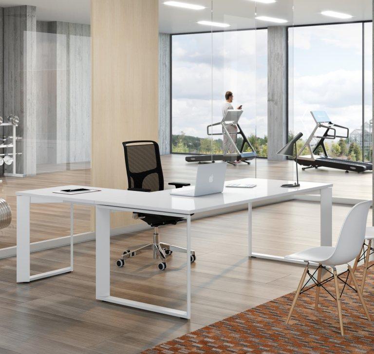 Scrivania direzionale twist bianco lucido salone ufficio for Arredo ufficio bianco